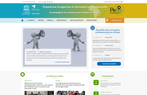 Conception, UX et Design Site Web UNESCO - PEFOP
